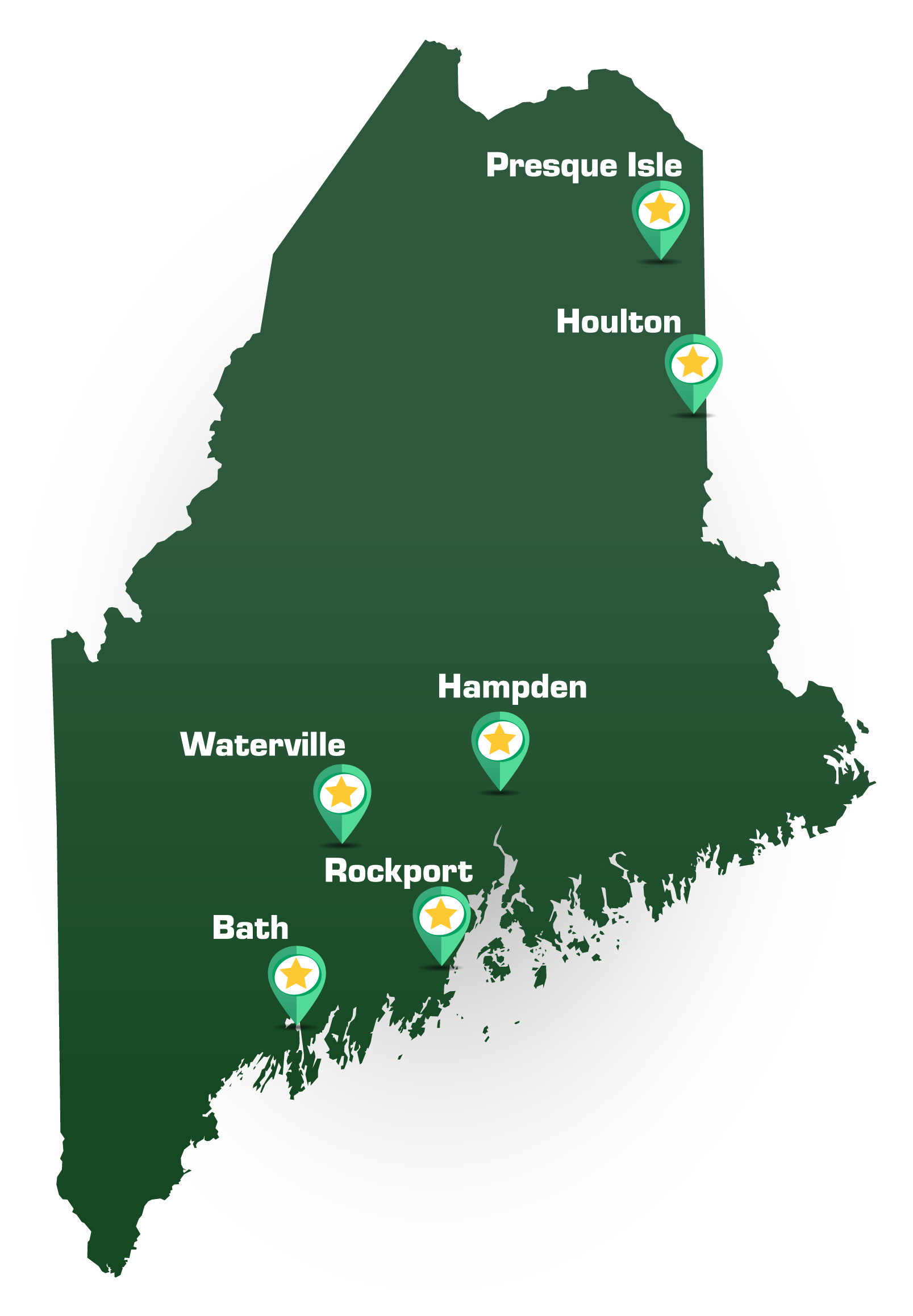 state of Maine graphic with star tabs at each branch location