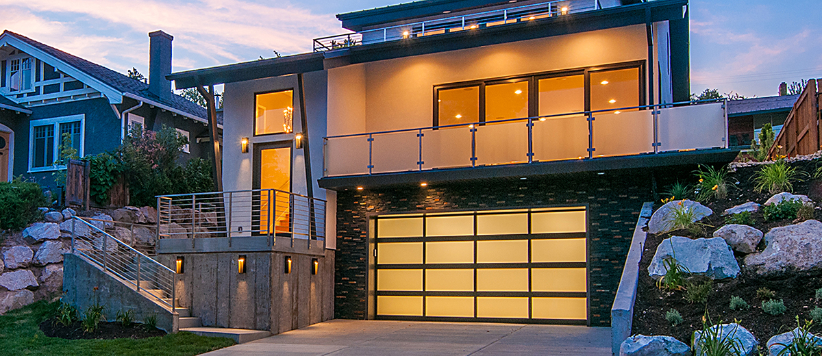 aluminum garage door at dusk