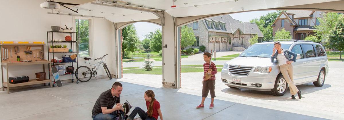 family enjoying their garage and residential garage doors