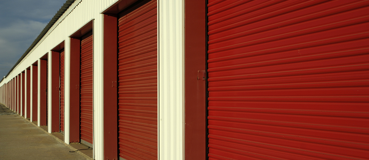 red storage facility doors