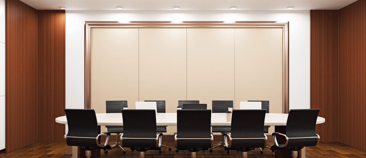 Modern conference room with empty banners on wall and equipment & Operable Walls \u0026 Curtains - PDQ Door Company Inc.