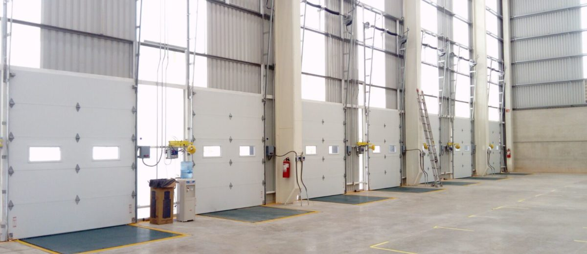 commercial garage doors in warehouse